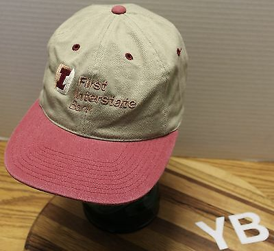 First Interstate Bank Hat Beige W  Faded Red Bill Adjustable Very Good Condition