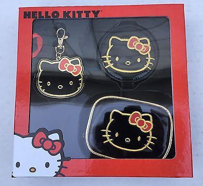 Bags Hello Kitty (Hello Kitty Gold/Black Gift Set - Includes Cosmetic Bag, Bag Charm &)