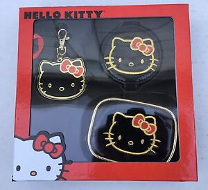 Hello Kitty Gold/Black Gift Set - Includes Cosmetic Bag, Bag Charm & Mirror