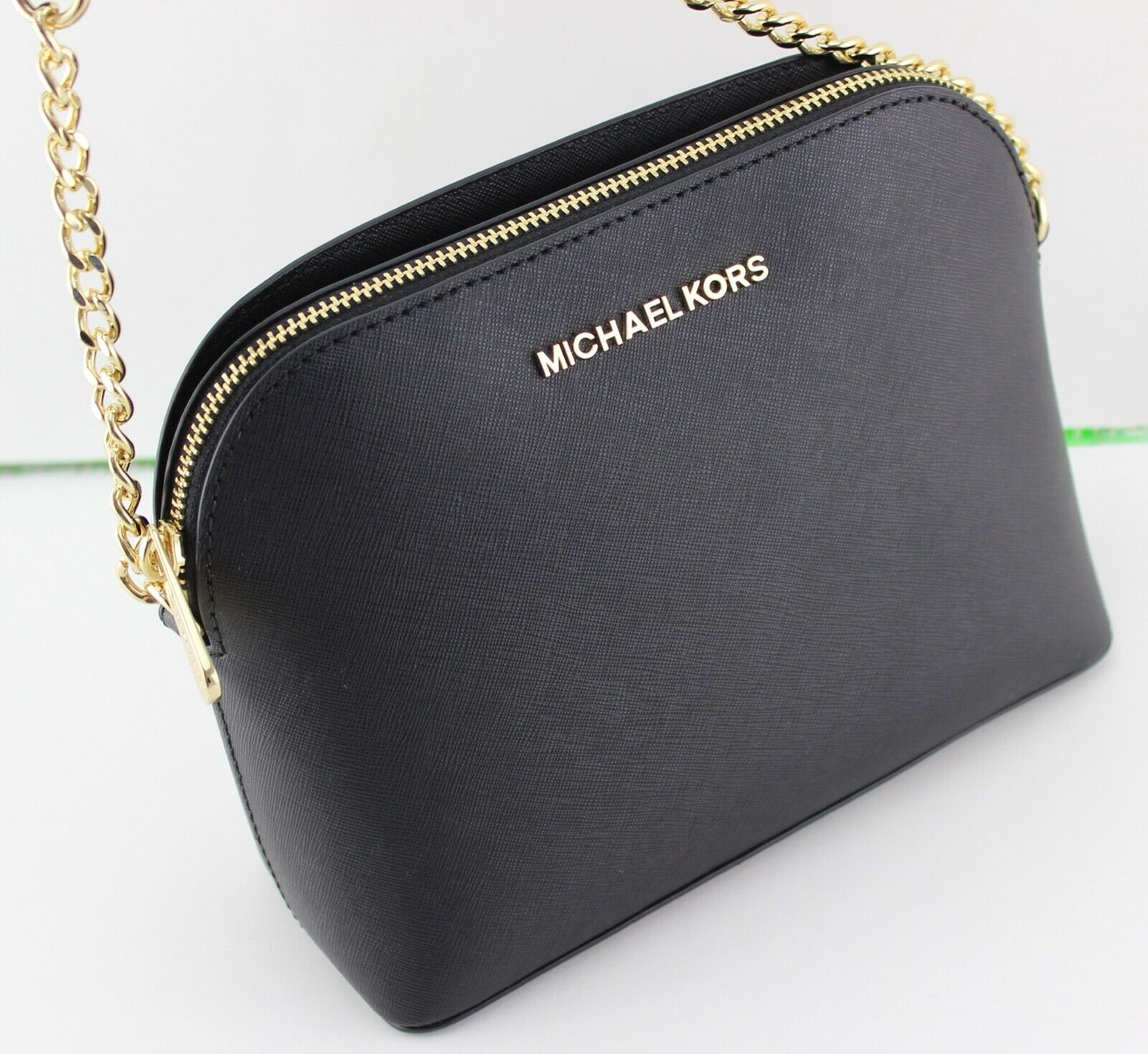 NEW AUTHENTIC MICHAEL KORS CINDY BLACK LG LARGE DOME CROSSBO