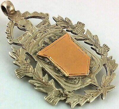 LARGE ANTIQUE HALLMARKD SOLID SILVER SCOTTISH THISTLE ALBERT CHAIN FOB MEDAL