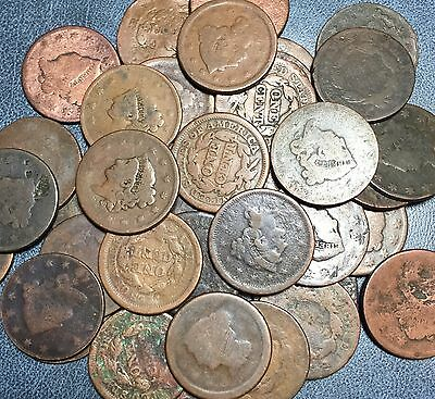 ✯1 Large Cent Cull Lot - Braided Coronet ✯ Classic Draped Bust Estate Copper✯