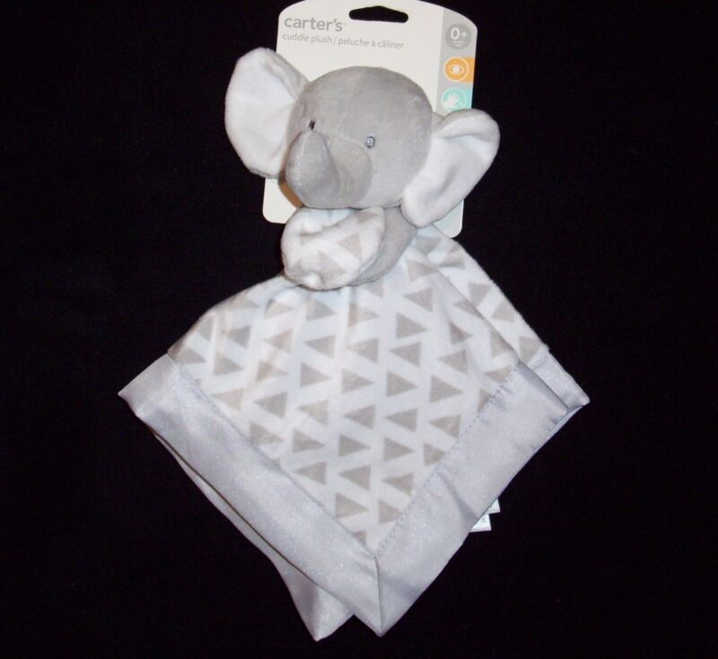 NEW Carters Grey White Elephant Baby Blanket Triangles Cuddle Plush Satin Lovey