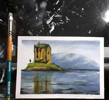 Acrylic Painting Scottish Castle