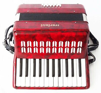 Scarlatti Piano Accordion 12 Bass Keys in Red Pearl with Deluxe hard case