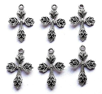 6 ANTIQUE SILVER CROSS  PATTERNED PENDANTS OR CAN BE USED FOR EARRINGS!