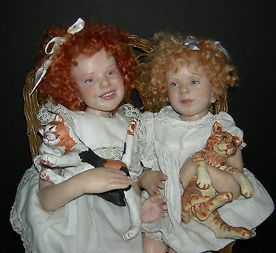 """(2) WAX DOLLS w/ CATS - VINTAGE - CHARACTER ARTIST - SITTING IN A CHAIR - 18-19"""""""