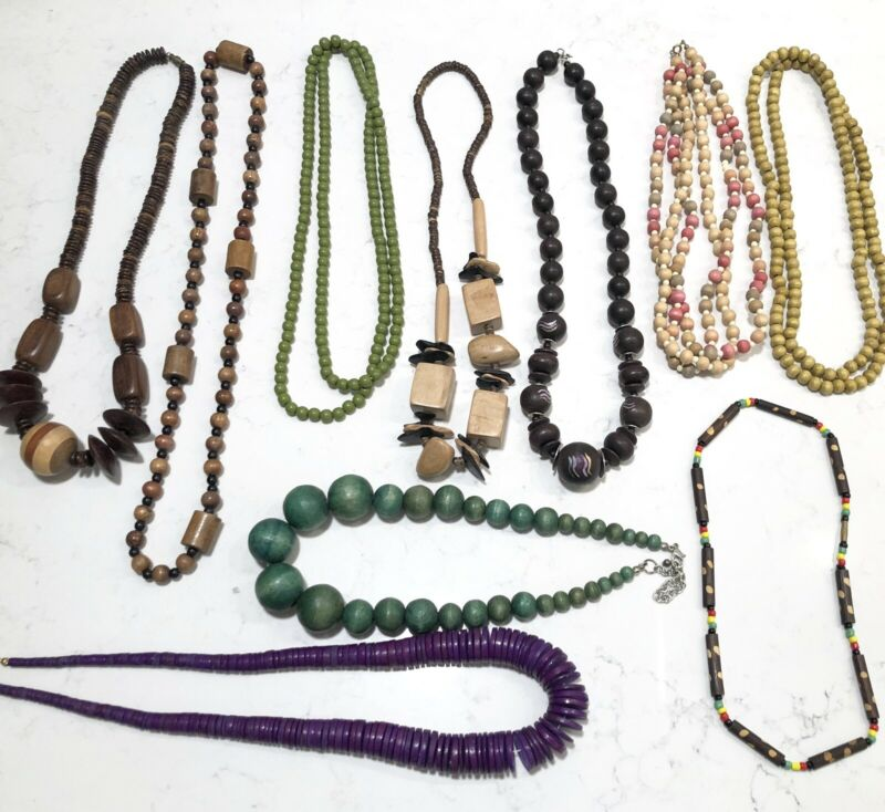 Lot Of 10 Assorted Wood Necklaces Varying Lengths WNL-4