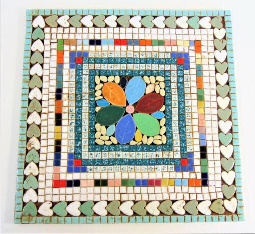"""Vintage Handmade Mosaic Tile Trivet Large 14""""x14"""" Signed"""