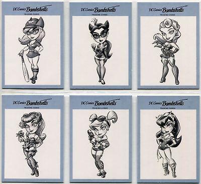 DC Comics Bombshells Complete Sketches Chase Card Set V1-6