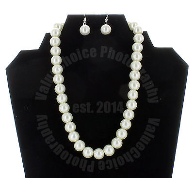 Faux Pearl White Necklace Earring Set Wedding Bridesmaid Women Girl 16