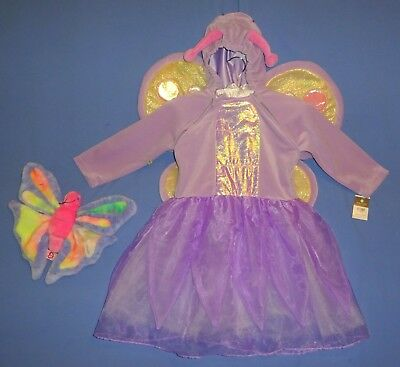 Butterfly Fairy Princess plush Costume dress,Girls 2-4T-NWT-Ty Beanie-NWOT-LOT (4t Butterfly Costume)