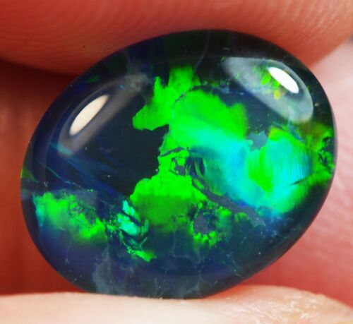 Super Gem A+++ Natural Australian Coober Pedy Opal Triplet 11x9 mm pendant ring
