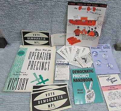 Vintage 1958 Democratic NPL Operation Precinct Kit Paper Group FREE S/H