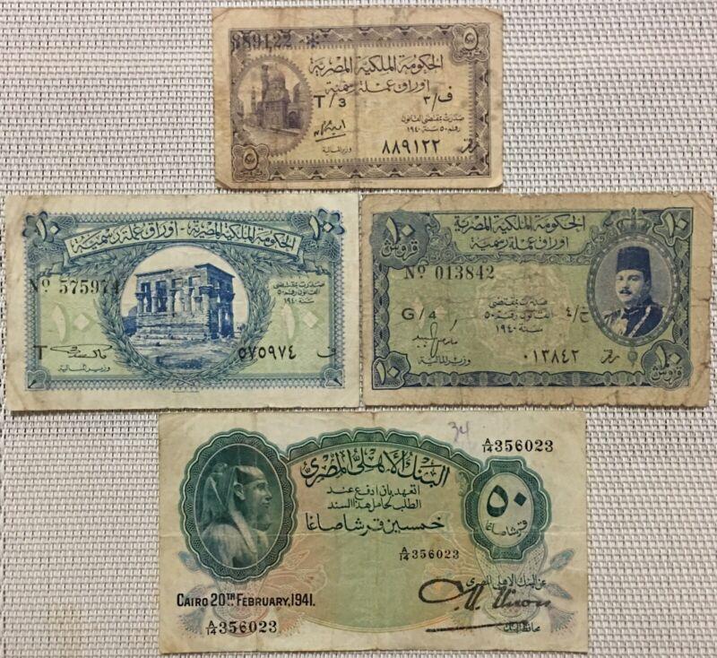 1940,1941 Egypt Banknote,Farouk,Egyptian Banknotes,5 & 10 & 50 Piastres Note X 4