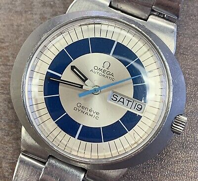 Original Omega Automatic Geneve Dynamic Wrist Watch Blue/ White Original Band!