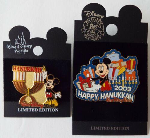 Hanukkah Mickey Mouse Pins with Menorahs 2001 2003  Disney Lot of 2 – New on Car