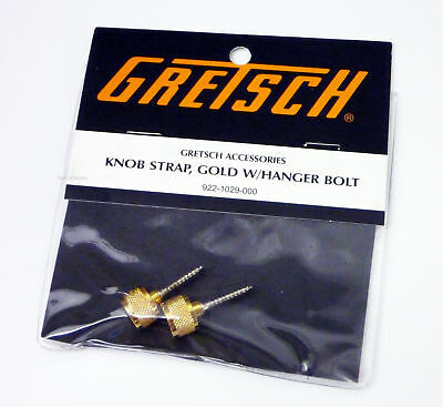 Genuine Gretsch Gold Guitar Strap Button Knobs and Hanger Bolts, Gold, Set of 2 Gretsch Electric Guitar Straps
