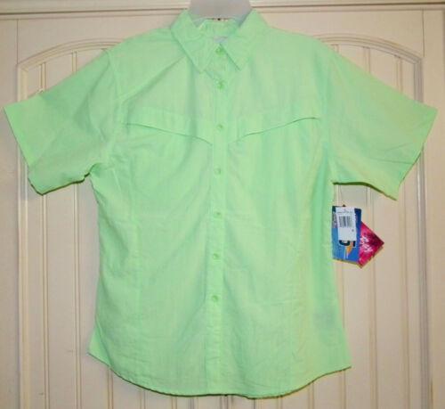 Womens Bimini Bay Vented Fishing Shirt, SZ M, Short Slv UPF 25 Lt Lime Green NWT