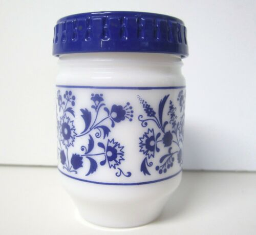 Blue and White Floral Glass Canister Jar with Lid