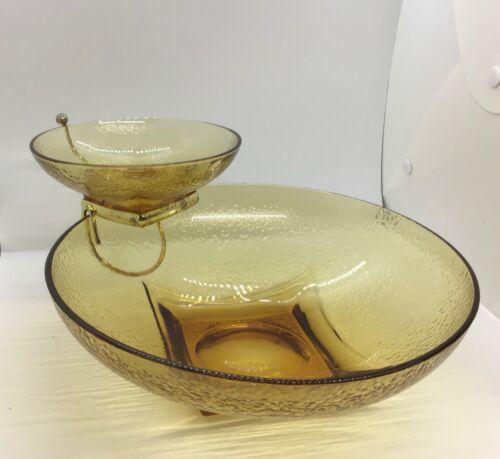 Vintage Hazelware Pebblestone 3 Piece Glass Chip-N-Dip Set Gold A-2033 W/Box