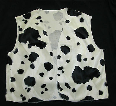 Black & White Cow Print Cowboy Cowgirl Waistcoat Woody Fancy Dress S M L Adult - Woody Cow Vest