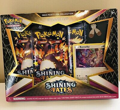 Pokemon TCG Shining Fates Mad Party Pin Collection Bunnelby Factory Sealed New