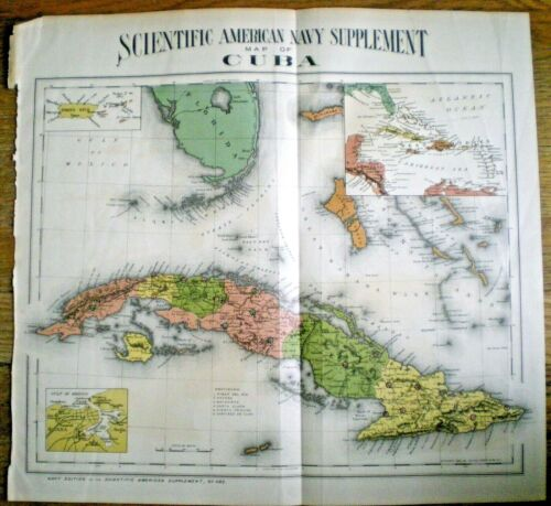 1898 SCIENTIFIC AMERICAN NAVY SUPPLEMENT MAP OF CUBA ~ COLTON,  OHMAN ~ S.A. WAR