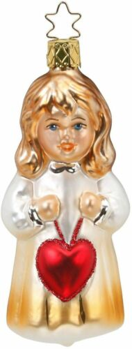 Valentine Girl With Heart Love For You Glass Ornament Inge Made in Germany