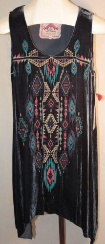 Johnny Was Womens Ladies Navy Mult-Color Embroidered Sleeveless Dress Size M
