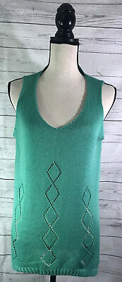 (Umgee Womens Green Knit V Neck Tank Top L Sleeveless Diamond Pattern A Line)