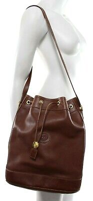Gucci Vtg 70s Women's Brown Leather Bucket Bag Shoulder GG Logo Drawstring VGUC