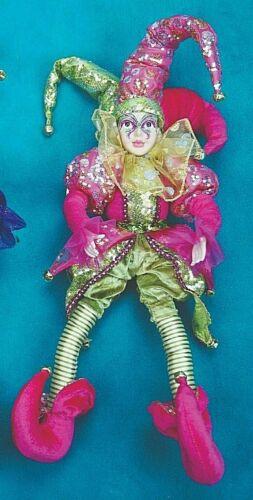 "Porcelain Jester Doll 12"" Mardi Gras Jester Dolls"