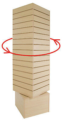 20 X 20 X 60 Rotating Slatwall Tower - Maple Slatwall Merchandiser