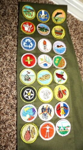 Boy Scouts Badge Sash with 24 Merit Badges or Patches