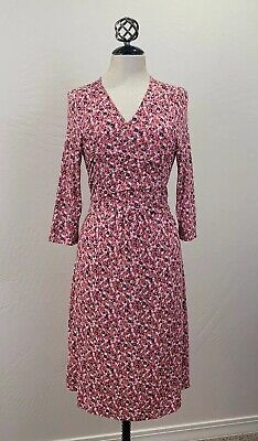 Gap Maternity Floral Wrap Dress Womens Pink Floral 3/4 Sleeve Jersey Knit Sz -