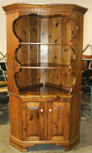 Vintage Solid Knotty Pine Custom Corner Cabinet - Rustic Country American