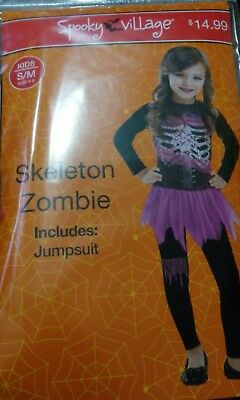SPOOKY VILLAGE SKELETON ZOMBIE HALLOWEEN COSTUME FOR GIRLS INCLUDES A JUMPSUIT  - Costume Village