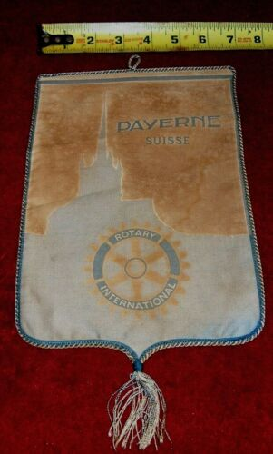 VINTAGE Rotary International Club wall banner flag      PAYERNE    SUISSE