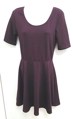 Ultra Flirt Womens Dress Medium Dark Purple Fit Flare Short Sleeve Textured B282 ()