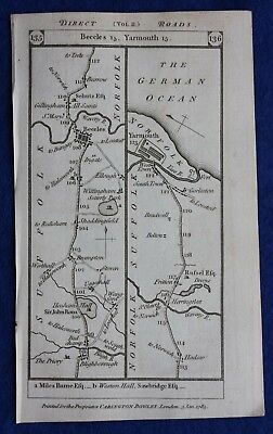 Original antique road map SUFFOLK, BECCLES, ESSEX, BILLERICAY, Paterson, 1785