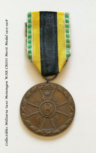 Collectibles Militaria Saxe Meiningen WAR CROSS Merit Medal 1915-1918