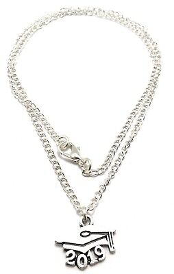 2019 Graduation Cap Necklace Sterling Silver Plated Chain Link Womens Jewelry -