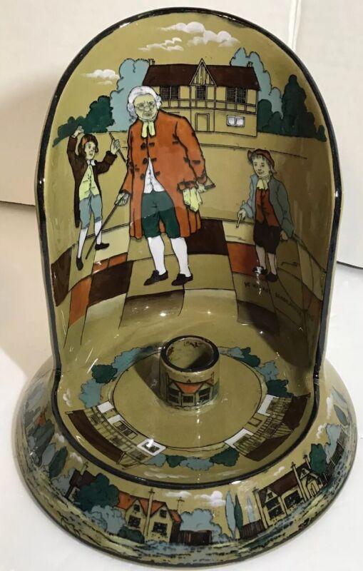 Rare 1908 Antique Buffalo Pottery Deldare Ware Chamber Candlestick Holder