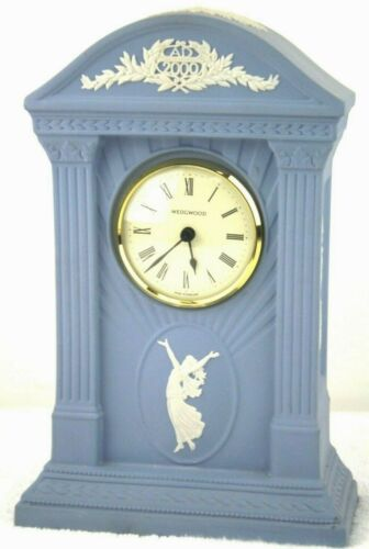 Wedgwood Blue Jasperware Millenium 2000 Clock Mantle Dancing Hours Lady England