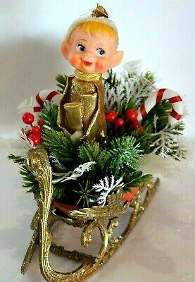Christmas Sleigh Decoration (Vtg mid century Glitter Gold Sleigh CHRISTMAS Decoration Centerpiece Pixie Elf)