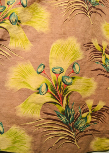 MID CENTURY WILD SURREALIST TROPICAL FLOWERS BARKCLOTH CURTAINS, ONE PAIR, LONG