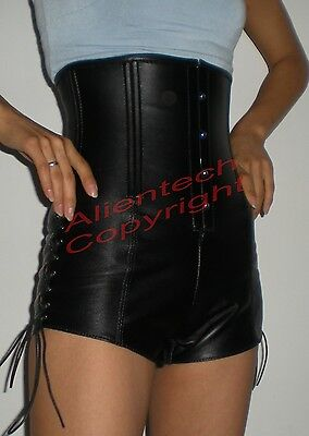 Real COW Leather Corset Shorts high waisted gothic Gaga  Halloween Costume - Halloween Costume Black Leather Skirt