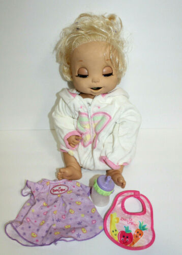 Vintage Hasbro Baby Alive Doll Soft Face Interactive w/ Bottle, Bib, Clothes