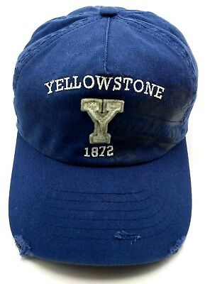 YELLOWSTONE Subject PARK blue distressed-style adjustable cap / hat
